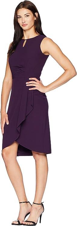 Side Drape Notch Neck Dress