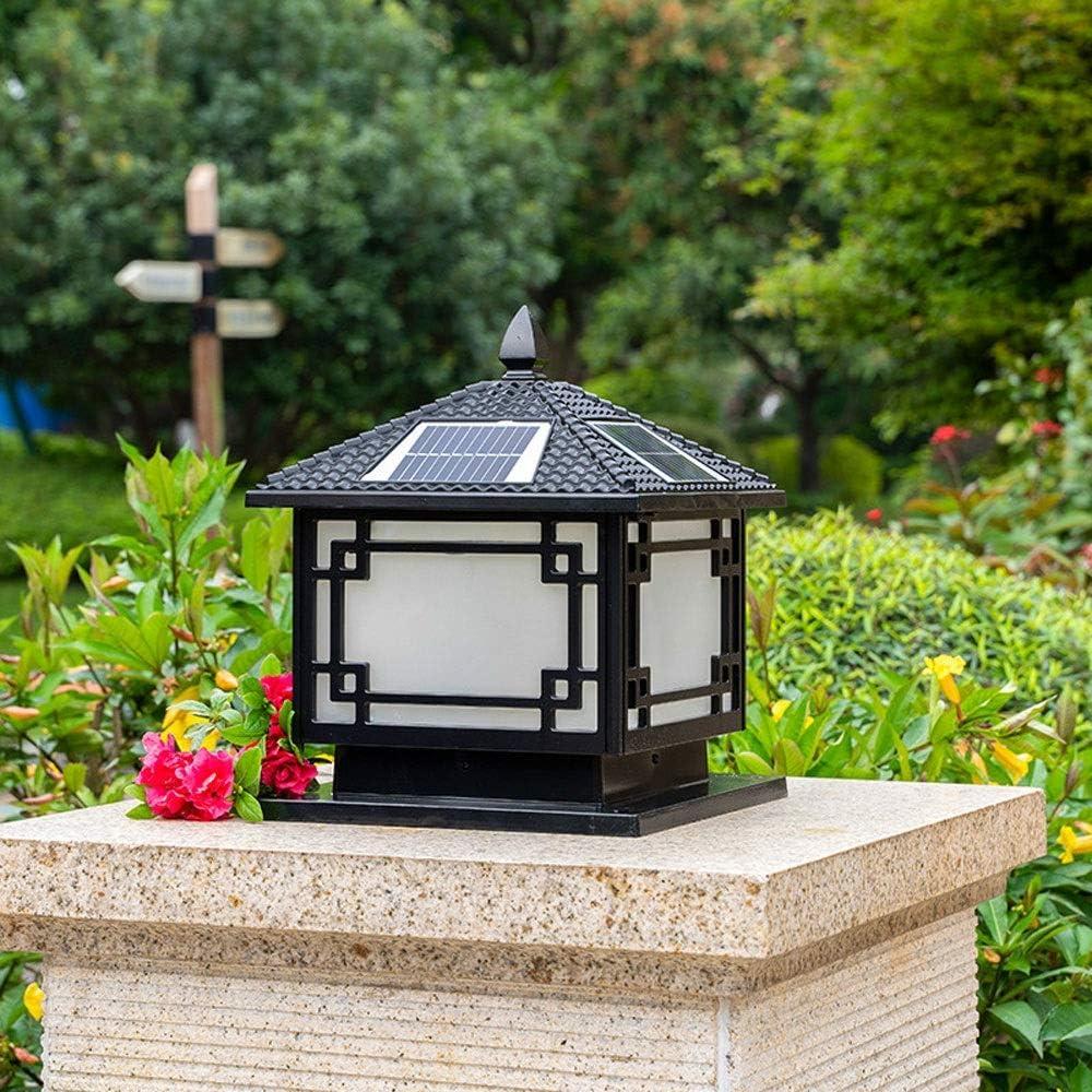 QTRT Led Column Headlight Outdoor Solar Lamp Waterproof Villa Square Pillar Lamp Fence Garden Lamp Energy Saving Decoration Illumination Porch Patio Post Headlight Street Lantern Pillar Floor Lamp