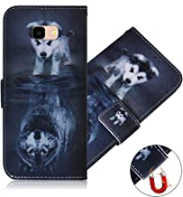 MRSTERUS Case for Samsung Galaxy J4 Plus, Samsung Galaxy J4+ Case, Premium PU Leather Wallet Flip Folio Case Colorful Painted Shockproof Cover Samsung Galaxy J4 Plus case Wolf and Dog TX