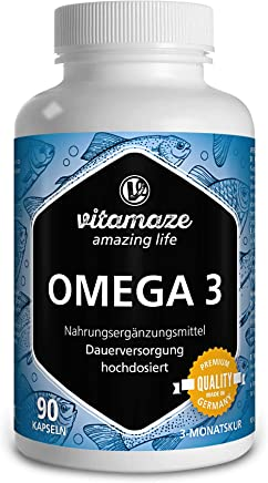 Vitamaze Omega 3 capsule alto dosaggio, 1000 mg di puro olio di pesce con 400 mg (40%) EPA e 300 mg (30%) DHA per capsule softgel per 3 mesi, la più alta biodisponibilità, prodotto in Germania