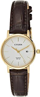 Citizen Women White Dial Leather Band Watch - EU6092-08A
