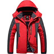 HOW'ON Men's Snow Jacket Windproof Waterproof Ski Jackets Winter Hooded Mountain Fleece Outwear