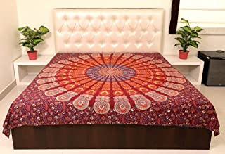 Sarjana Handicrafts Indian King Size Cotton Flat Bed Sheet Mandala Psychedelic Bedspread Bedding (Maroon)