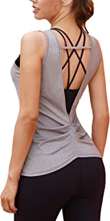 COOrun Workout Tank Tops for Women Open Back Strappy Athletic Tanks Yoga Tops Gym Shirts