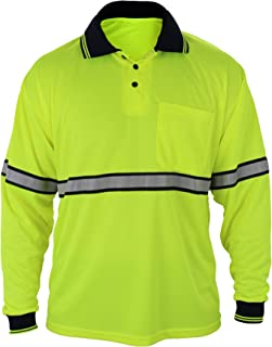 First Class Two Tone Polyester Polo Shirt with Reflective Stripes Yellow