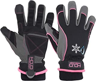 Waterproof Insulated Work Gloves, Thermal Winter Gloves for Men Women Touch Screen, Warm Ski Snowboard Cold Weather Gloves (Small, Pink)