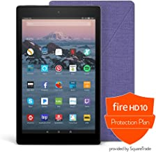 Fire HD 10 Protection Bundle with Fire HD 10 Tablet (32 GB, Black), Amazon Cover (Cobalt Purple) and Protection Plan (1-Year)