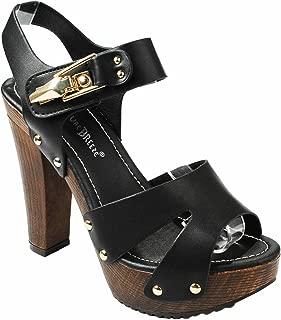 Women Rhinestone Strappy Slingback Platform Faux Wooden Chunky Heel Sandals
