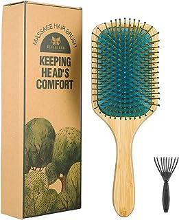 Neverland - Cepillo para el pelo de bambú natural, antiestático, cerdas de nailon, cepillo de pelo orgánico, acolchado con herramienta de limpieza y caja de regalo