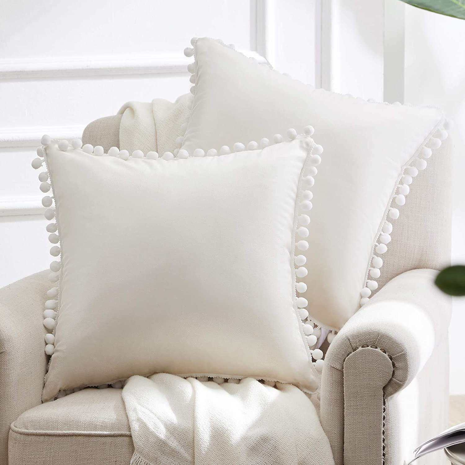 WESTERN Max 58% OFF HOME WH Decorative Throw Pillow with So Max 80% OFF Covers Pom Poms