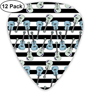 KIMBERLYBLAINE Music Ukulele in Black and White Guitar Picks Premium Picks Sampler Includes Thin, Medium