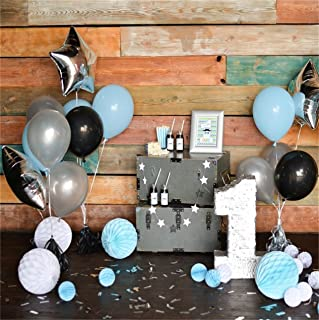 CSFOTO 5x5ft 1st Birthday Backdrop Balloon Paper Flower Decoration Wood Wall Photography Background Baby Boy Kid Infant Portrait Party Digital Photo Studio Props Seamless Polyester Wallpaper