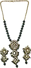 Faux Emerald Beaded Necklace Set with Kundan - Copper Alloy