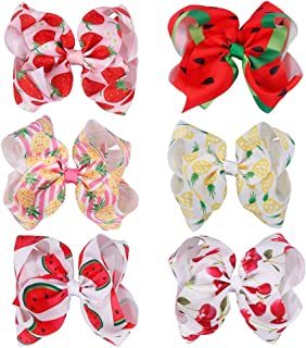 CN Bow For Girls Fruit Grosgrain Ribbon Hair Bows With Alligator Clips Pack Of 6