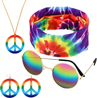 4 Pieces Accessories Hippie Costume Set, Including Peace Sign Necklace, Sunglasses, Earrings and Headband for Women and Men