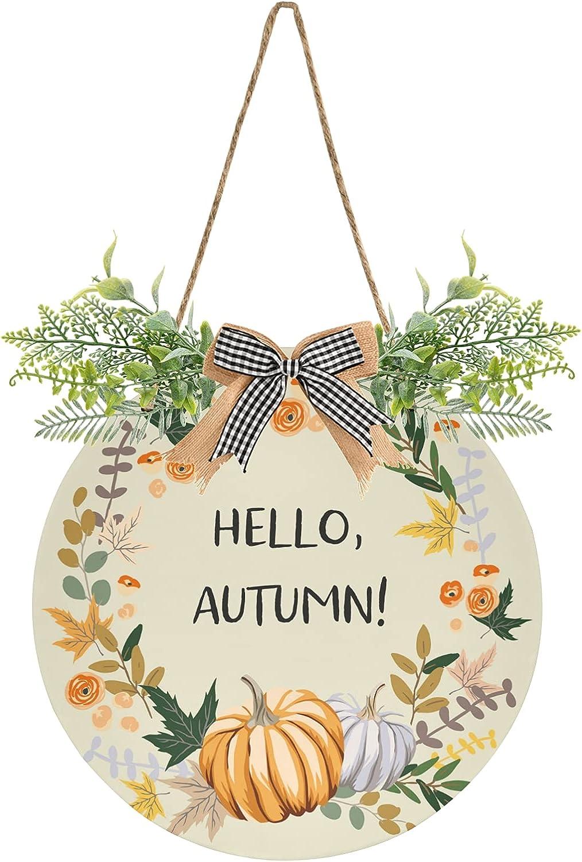 Hello Fall Luxury Autumn Pumpkin Wreath free Welcome Round Door Sign Hanging