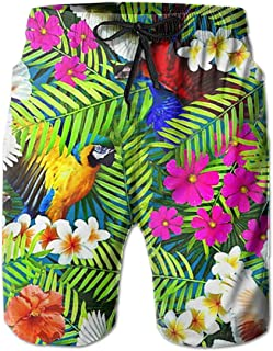 SARA NELL Mens Swim Trunks Exotic Tropical Birds Parrot and Flamingo Surfing Beach Board Shorts Swimwear