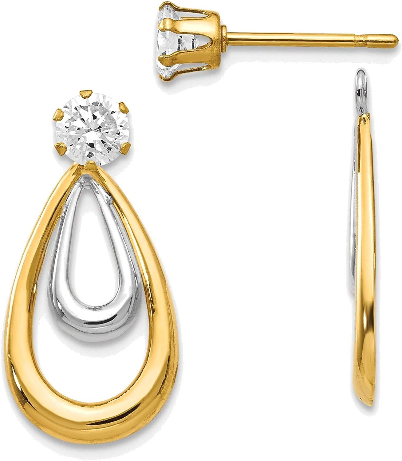 Two Tone Polished with CZ Stud Earring Jackets in 14K Yellow and White Gold