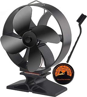 FEPITO Wood Stove Fan Silent Operation 4-Blade Heat Powered Stove Fan Stove Thermometer Nylon Brush Wood/Log Burner/Firepl...