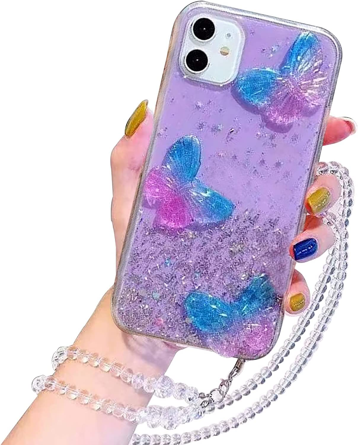 Herzzer Glitter Case for Samsung Galaxy A52 4G/5G,Cute Crystal Beauty Aesthetic Butterfly Shiny Stars Transparent Shockproof Soft TPU Bumper Bling Case with Crossbody Strap Neck Lanyard - Purple