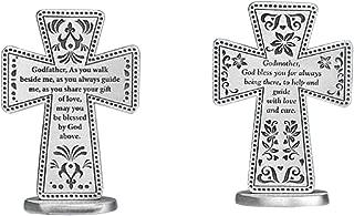 Pewter Godmother & Godfather Standing Message Cross Set (2 Pcs)