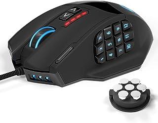UtechSmart Ratón láser para Juegos MMO, Venus RGB LED MMO Mouse, de Alta precisión (18 Botones programables, 16400 dpi)
