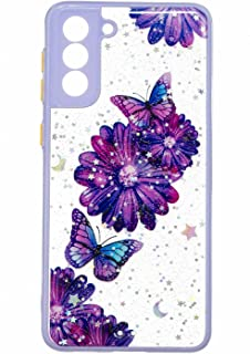 TYWZ Crystal Clear Bling Sparkly Case voor Samsung Galaxy S21 Plus, Glitter Glanzend Slanke Harde PC Drop Protection Shock...