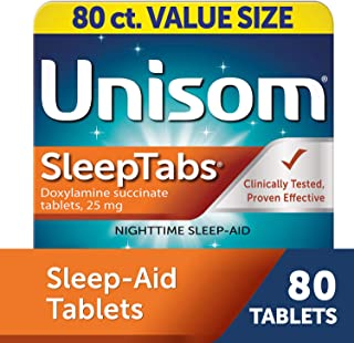 Unisom SleepTabs, 80 Count, Non-Habit Forming Sleep Aid, Great for Difficulty Falling Asleep Due to Anxiety or Stress, Fal...