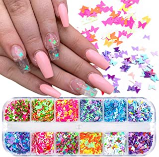 Holographic Butterfly Nail Art Decoration Sequins Sparkly Butterfly Nail Glitter Decals 12 Colors 3D DIY Butterflies Merma...