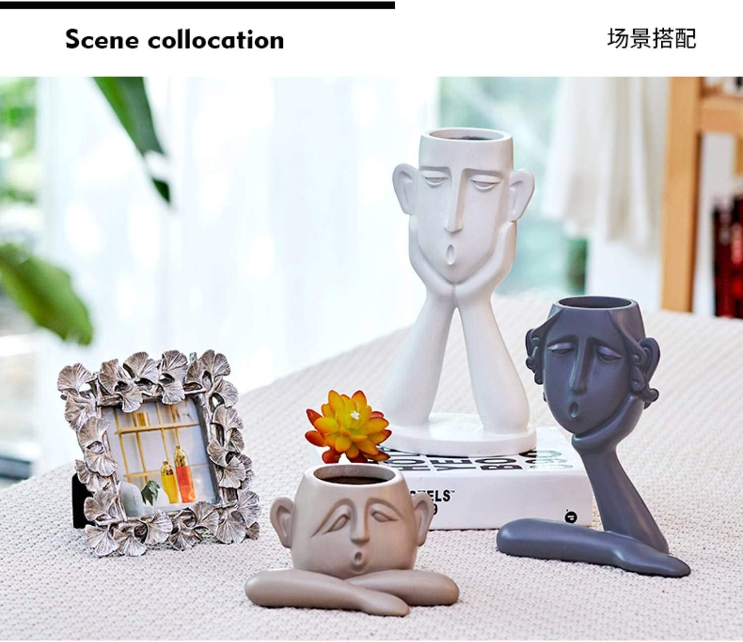 GAOBEI Home Decor Statues Sculptures Decoration Resin Figure Gift one Black Big Size