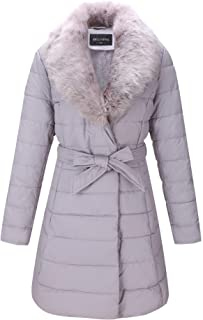 Faux Leather Puffer Padding Long Jacket, Women Winter Coats with Detachable Faux Fur Collar
