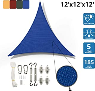 SunnyJoy Triangle 12'x12'x12' Sun Shade Sail with Stainless Steel Hardware Kit, Perfect for Outdoor Patio Garden, Blue