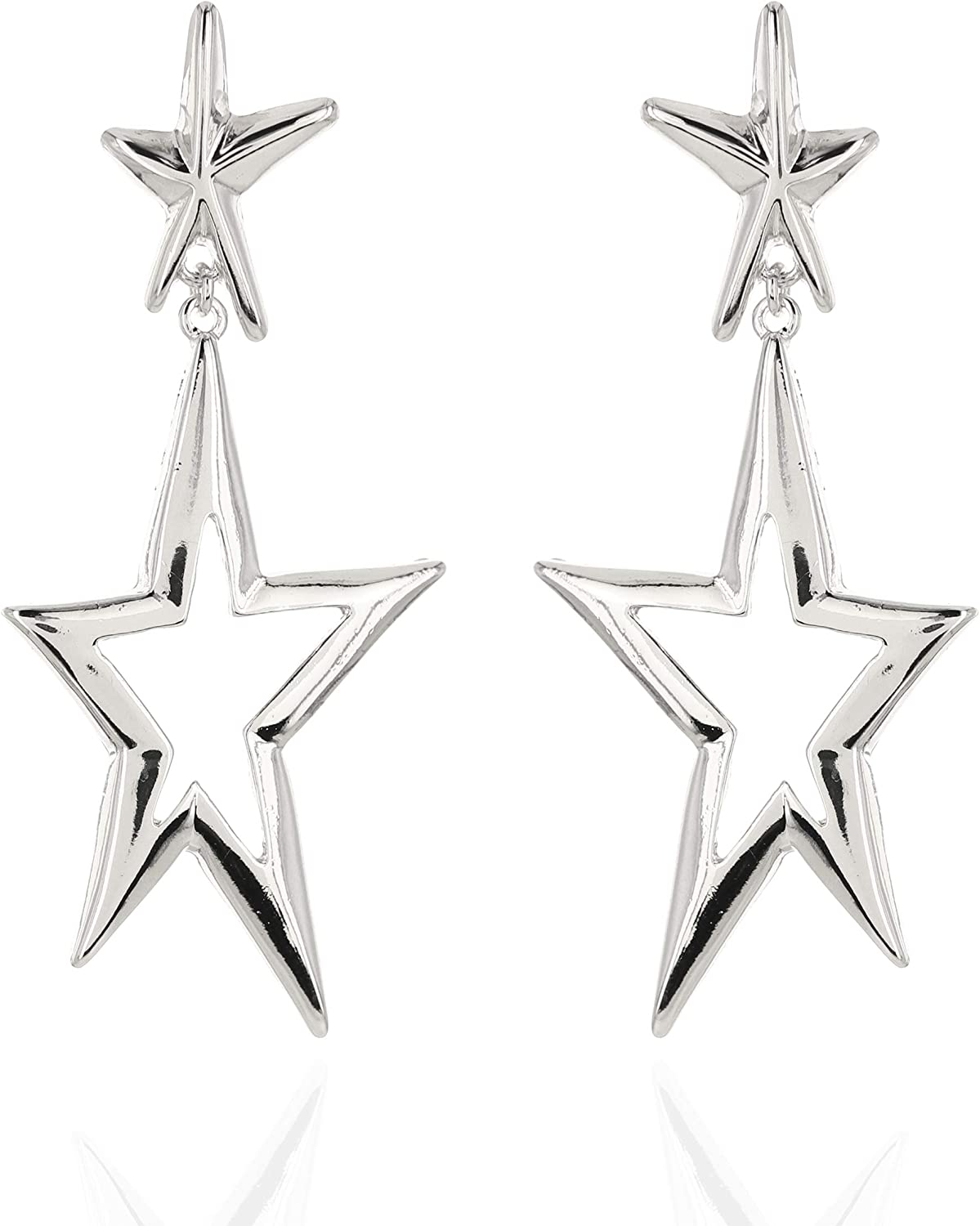SP SOPHIA COLLECTION Women's Abstract Star Burst Plated Clip On Dangle Earrings