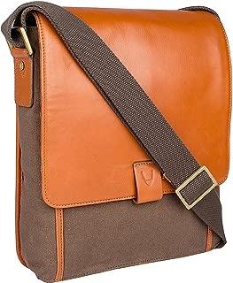 Hidesign Aiden Genuine Leather and Canvas Medium Crossbody Men/Women Shoulder Messenger Bag / Travel Bag / 10.5