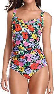 MISSWIM Women's Vintage One Piece Swimsuit Center Front-Twist Bathing Suit