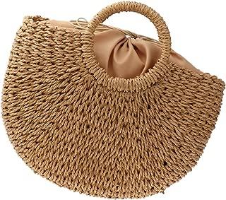 Baoblaze Handmade Women Straw Woven Beach Tote Summer Shoulder Bag Shopping Handbag Drawstring Closure
