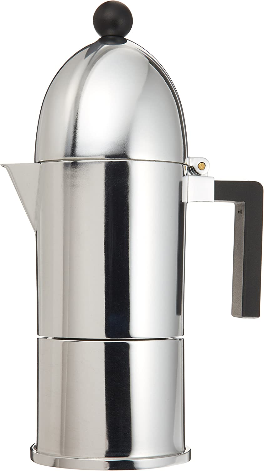 Alessi A9095 6 B La Cupola 6-Cup Silver Aluminum Espresso Maker With Black Handle