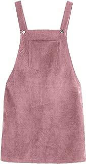 Women's Straps A-line Corduroy Pinafore Bib Pocket Overall Dress
