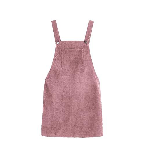 4359523264af Romwe Women s Straps A-line Corduroy Pinafore Bib Pocket Overall Dress