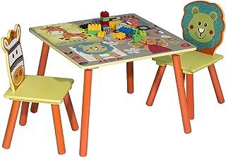 WOLTU 1 Table d'enfant + 2 chaises Ensemble de Meubles pour Enfants Motif Animaux Cartoons Animation pour Enfants d'âge pr...