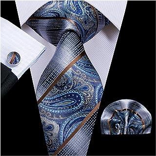 Tie 8.5cm Silk Men's Fashion Blue Paisley Tie Necktie Handkerchief Cufflinks Set Men's Wedding Party Business Tie Set (Col...