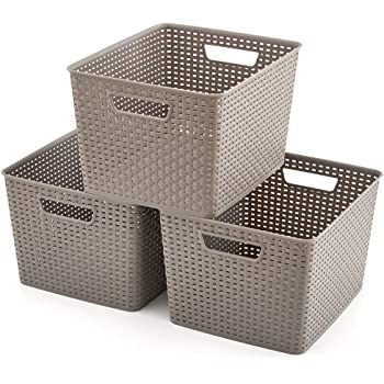 EZOWare 3 pcs Grande Cestas de Almacenaje Multiuso, Cajas Organizadoras de Plástico con Efecto de Mimbre y Asas para Cocina, Baño - Gris: Amazon.es: Hogar