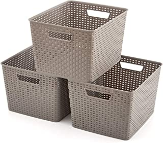 EZOWare 3 pcs Grande Cestas de Almacenaje Multiuso Cajas Organizadoras de Plástico con Efecto de Mimbre y Asas para Cocin...