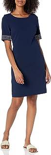 Karl Lagerfeld Paris womens scuba crepe sheath dress with heat set detail Business Casual Dress