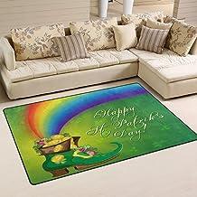 Doormat St.Patrick Day Boot Gold Coin 60x39 inch Welcome Holiday Floormat, Rainbow Shamrock Outdoor Indoor Non Slip Bath K...