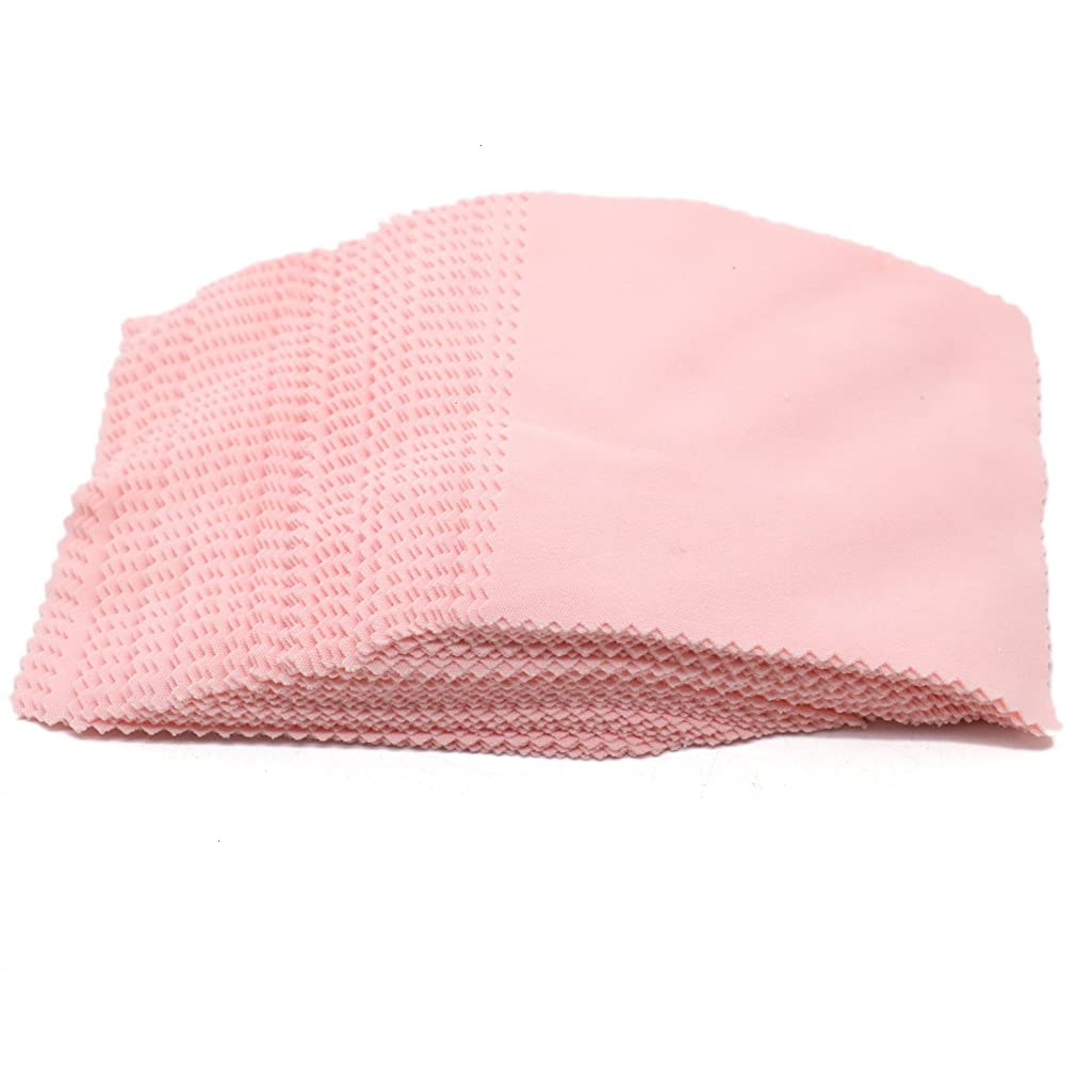 Rugjut 100 PCS Jewelry Cleaning Cloth Polishing Cloth for Silver Gold and Platinum Jewelry (Pink)