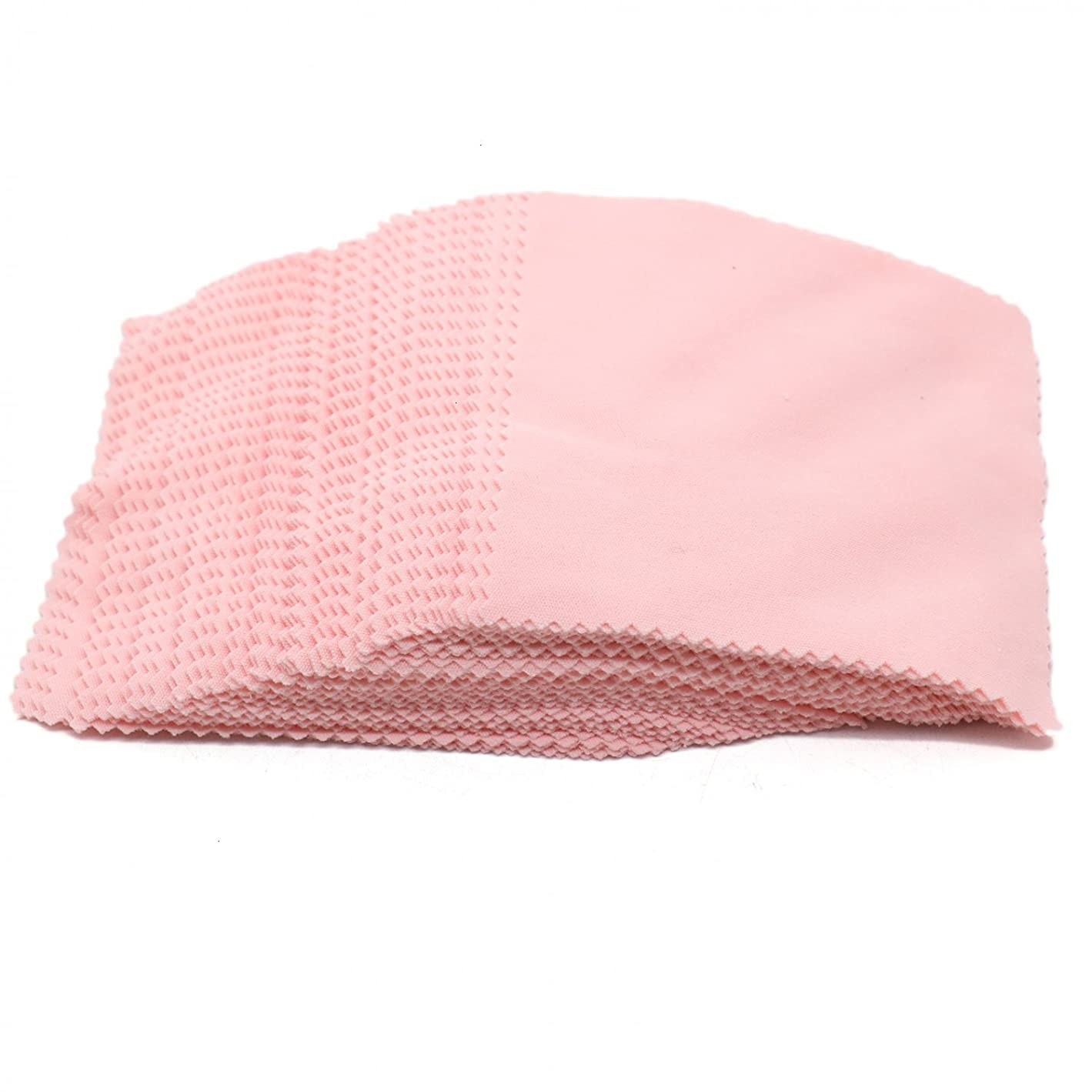 Rugjut 100 PCS Jewelry Cleaning Cloth Polishing Cloth for Silver Gold and Platinum Jewelry (Pink) o53948044783328