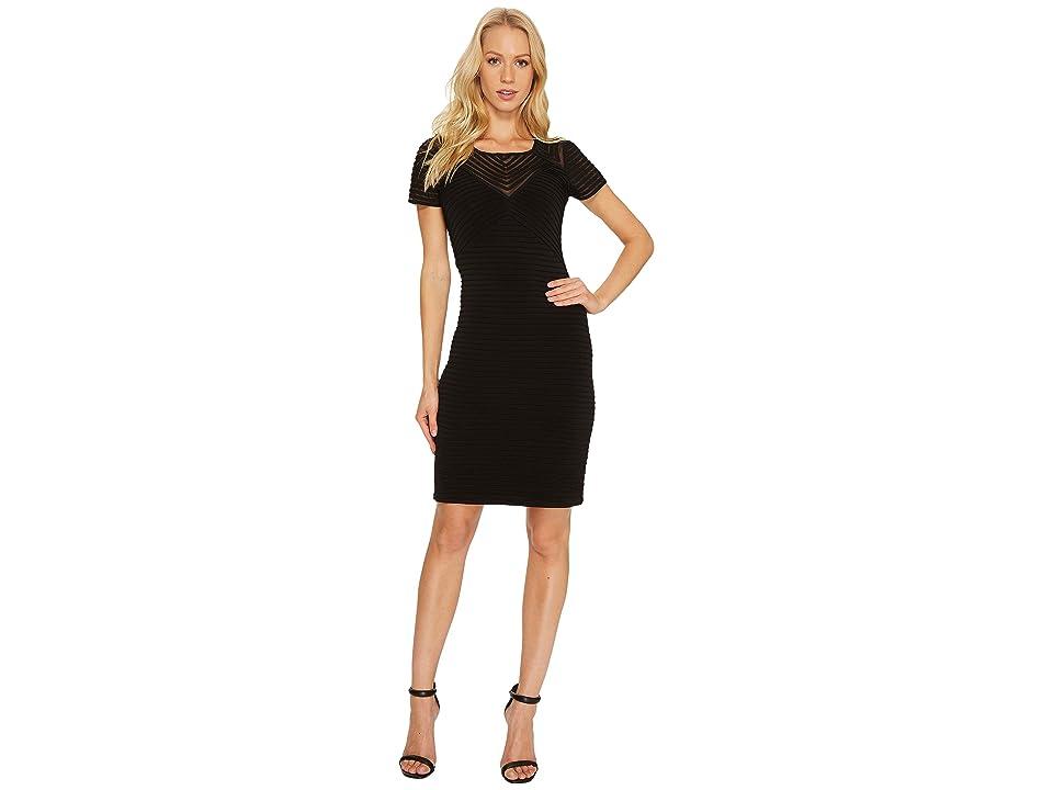 Calvin Klein Ribbed Short Sleeve Sheath Dress CD7A1Q8C (Black) Women