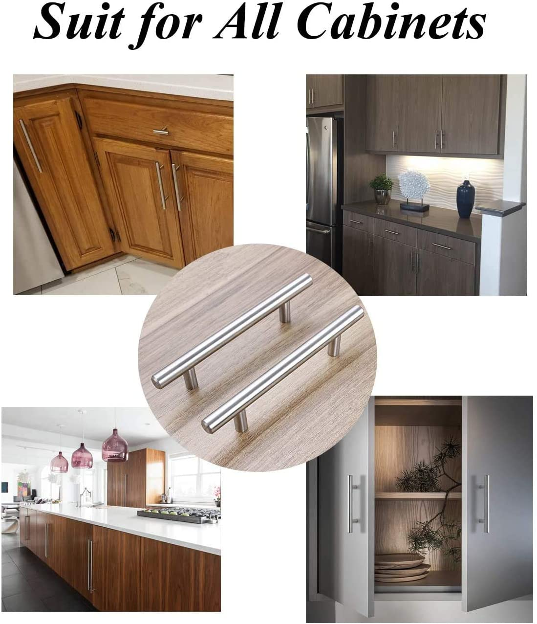 Buy Probrico 5 Pack 3 Solid Stainless Steel Cabinet Pulls T Bar Modern Euro Style Brushed Nickel Kitchen Cupboard Handles Dresser Drawer Pulls Kitchen Cabinet Hardware 5 Length Online In Turkey B01d4gkx08