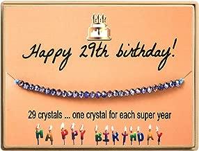 HolyFast Happy Birthday Gifts Bracelet Crystal Beads Bracelet Gift for Women Girls 11st 12th 13th 14th 15th 16th 17th 18th 19th 20th 21th 25th 30th